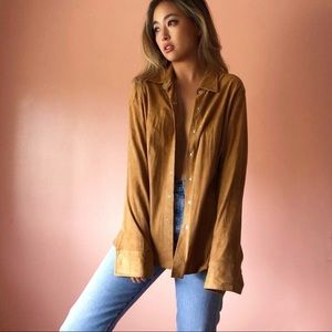 Vintage Cognac Suede Button Blouse